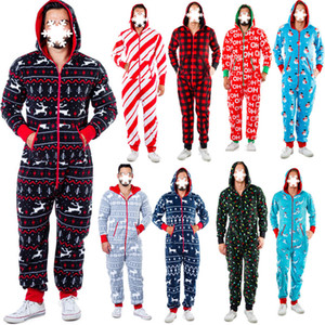 Women Christmas Pajamas men Same item One Piece Pajamas Nightgown Autumn And Winter Snowman Print Nighty Hooded Housewear Jumpsuits 2020 New