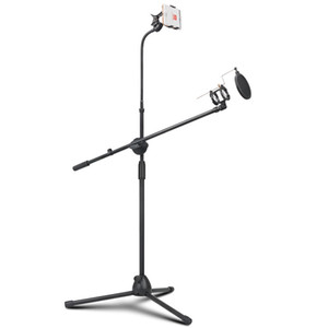 Professional Swing Boom Floor Microphone Tripod Floor Stand Stand with Shock-proof Mount Mic Filter Mobile Phone Holder for Podc