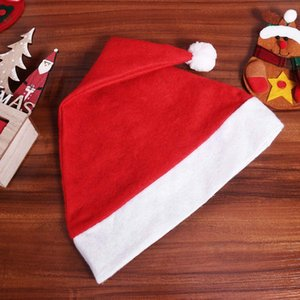 Red Christmas Santa Claus Hats Cap Party Hats For Santa Claus Costume Christmas Decoration for kids Adult Christmas Hat OWE3026