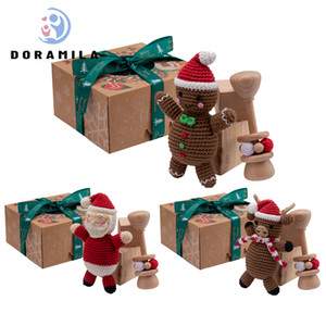 Baby Christmas Crochet Ginger Candy Toy Santa Claus Elk Rattle Baby Baby Stationery Set Gift Box Newborn Educational Toys Z1124