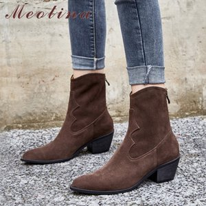 Meotina Real Leather Cow Suede High Heel Ankle Boots Women Shoes Pointed Toe Thick Heel Zipper Short Boots Ladies Autumn Winter 201215