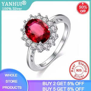 YANHUI Princess Oval Cut 3ct Red Zircon Created Ruby Ring Original Silver 925 Jewelry Engagement Wedding Rings For Women FQLR345