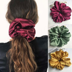 Ins Oversized Scrunchies Hairband For Women Ponytail Holder Satin Elastic Hair Bands Scrunchie Girls Hair Rope Accessories