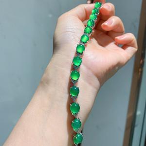 AIYANISHI Sterling Silver inlaid Chalcedony women hand bracelet luxury support detection natural jasper hand bracelet