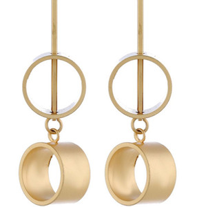 Hot Nifty Circle Long Earrings Stainless Steel Gold Plated Or Rose Gold Plated Dot Round Ball Stud Personality Earrings
