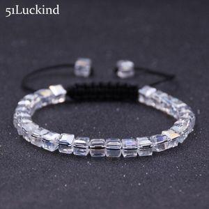 Fashion Hand Braided Rope Chain Bracelet Luxury Geometric Square Crystal Braslet For Women Grils Handmade Jewelry Bileklik