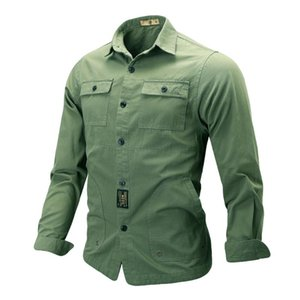 KANCOOLD 2020 Men's NEW Casual Fashion Shirt Men turn-down collar Pure Color Pocket Long Sleeve shirt Top Blouse 1126