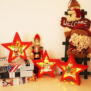 New 1pc Christmas Xmas Tree Ornament Wooden Glowing Pendant Decoration Props Five-Pointed Star Santa Claus for Toys Gift