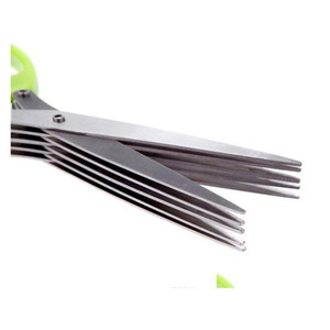 Stainless Steel Cooking Tools Kitchen Accessories Knives 5 Layers Scissors Sushi Shredded Scallion Cut Her jllDWB bdefight