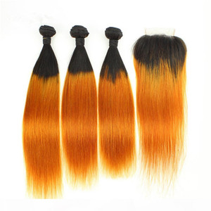 Ombre Orange Straight Indian Human Hair Weaves 3Bundles with Closure #1B Orange Ombre Human Hair Weave Wefts with 4x4 Lace Top Closure