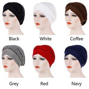 Women Muslim Braid Head Scarf Cap Casual Fashion Turban Hat Hair Accessories Cancer Chemo Soft Stretch Wrap Knot Elastic