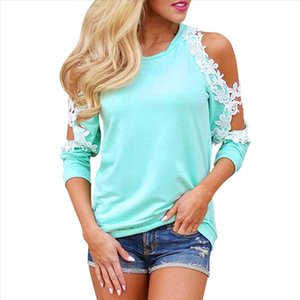 Lace Blouse Shirt Women Tops Cold Fashion Casual Long Sleeve Blouse Femme Sexy Cold Off Shoulder Tops Tee Blusas XXL