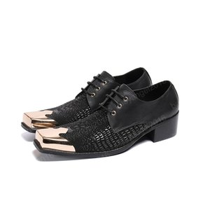Square Toe Business Oxfords Shoes Black Lace Up Wedding Genuine Leather Dress Shoes Office Formal Brogue Shoes