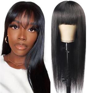 Parrucche dritte dei capelli umani con la parrucca piena della macchina della parrucca della macchina di Bangs Full Capelli umani per le donne dei parrucche dei remy brasiliani Nessuno pizzo