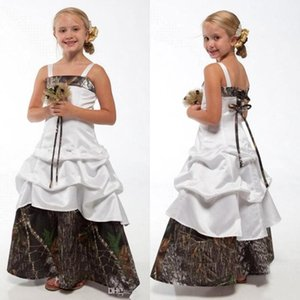 Lovely Camo Flower Girl Dresses for Wedding Spaghetti Camouflage Princess Junior Bridesmaid Gowns New Kids Birthday Gowns BA1784