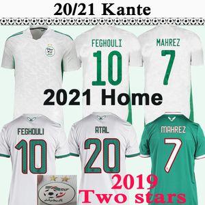 2021 Algeria MAHREZ Mens Soccer Jerseys 2019 Africa Cup Two Stars FEGHOULI SLIMANI BENNACER Home White Away Green Football Shirt Uniforms