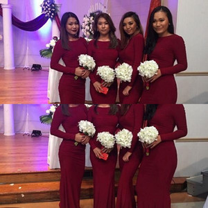 2021 Burgundy African New Bridesmaid Dresses Mermaid Long Sleeves Wedding Guest Dress Elastic Plus Size Formal Wedding Party Gowns Custom