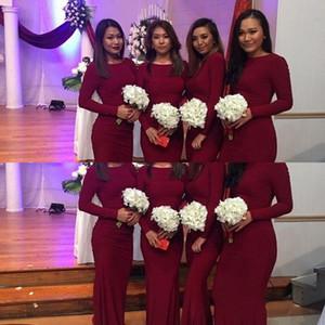 2021 Burgundy African New Bridesmaid Dresses Mermaid Long Sleeves Wedding Guest Dress Elastic Plus Size Formal Wedding Party Gowns Custom