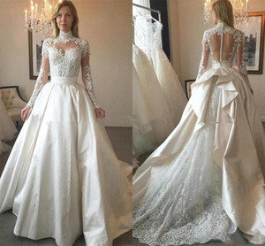 2021 High Neck Wedding Dresses Satin A Line Lace Applique Sweep Train Custom Made Chapel Wedding Bridal Gown Plus Size Vestido de novia