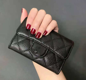 Fashion Hot Designer Lady Black Classic Caviar Leather Quilted Wallet Small Coin Purse Women Clutch with Box