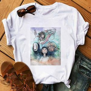 Timited Away T Shirt Frauen Japanische Anime Cartoon Tshirt Miyazaki Hayao Kleidung Weibliche Nein Gesicht Niedlichen Druck Harajuku T-Shirt