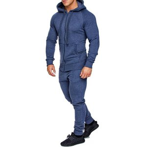 New Autumn Winter Outfits Men Long Sleeve Rib Cuffs Front Zipper Hoodie Sweatshirt Solid Color Pants Tracksuit Sportswear