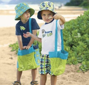 Wholesale- Applied Enduring Children Sand Away Beach Mesh Bag Children Beach Toys Clothes Towel Bag Baby Toy Collection Nappy Folding bbyum