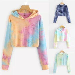 Women Rainbow Colorful Hoodie Teen Girls Long Sleeve Hooded Fashion Cotton 3D Print Cute Kawaii Sweatshirt Tops