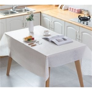 Disposable Plastic Dinnerware White Pink Wedding Birthday Party Table Cover Rectangle Desk Covers New Year's Tablecloth