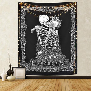 Skull King Meditating in Flowers Moon Tapestry Mandala Tappeto Hippie Divinazione Tarot Cat Ouija Witchcraft Wall Wall Coperta
