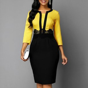 Plus Size Women 2020 Autumn Retro Yellow Stitching Large Size Dress Ladies Round Neck Casual 3 4 Sleeve Slim Bag Hip Step