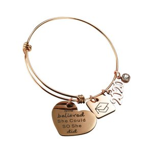 2020 Graduation Gift Lettering Bracelet Bangle Student Friendship Bracelet Gift Stainless Steel Charm Adjustable
