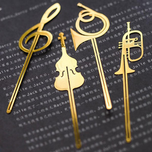 New Kawaii Cute Gold Musical Instruments Metal Book Markers Bookmark For Books Paper Clips Office School Supplies Stationery F sqcppQ