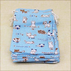 5pcs 10x14 13x18cm Cotton Cute Animals Design Gifts Bags Party Christmas Gift Jewelry Pouches Packing Bag Drawstring Bags sqcODX pp2006