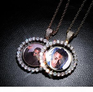 Men Women Custom Made Rotatable Photo Pendant Double Sided Medallions Pendant Necklace gifts Zircon Pendant