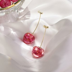 New Arrival Dominated Acrylic fashion Geometric fine Women Drop Earrings contracted sweet cherry modelling long earrings for gift