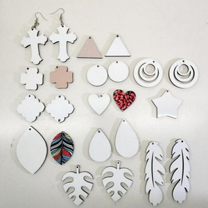 New Fashion 14 styles sublimation blanks Earrings Double-sided sublimation earring leaves shape eardrop with DIY earring gift party favor