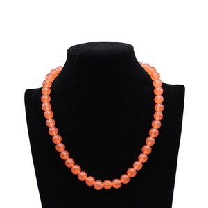 Classic Natural Pink Orange Crystal Stone Beaded Chain Choker for Girl Women Toggle Clasps Yoga Necklace Jewelry 8mm 10mm