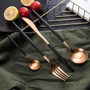 24pcs Kubac Hommi 18/10 Sistema de cubiertos negros de oro de rosa de rosa Black Rose Gold Matte Cutlery establece servicio para 6 envíos de gota y1119