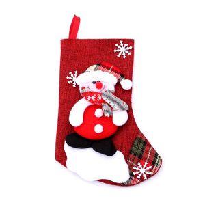 Medium Christmas Stocking Gift Santa Claus Fawn Little Bear Snowman Socks Christmas Cute Gift Bag Children Fireplace Tree Decoration