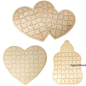 Wooden Jigsaw Puzzle Heart Wood Bottle Double Heart Design Puzzle Guest Book Wedding Keepsake Decor Alternative Boho Style
