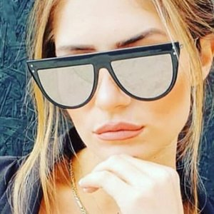Retro Woman Sunglasses Flat Top Style Silver Mirror Design Half Round Sun Glasses For Men Rivet Celebrity Shades Street Eyewear