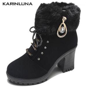 Karin 2020 neue marke mode frauen stiefel metall dekoration runde toe plarform square dicke heels kurze plüsch frauen schuhe1