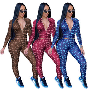 women hoodie legging two piece set outfits long sleeve tracksuit jacket pants sportswear bodycon outerwear tights sports set hot Y9126