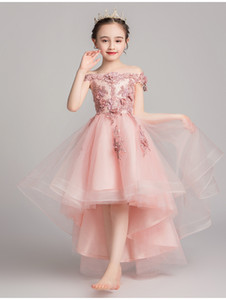 2021 Ball Gown Off Shoulder Pink Flower Girls Dresses Lovely Short Baby Bridal Dresses Handmade High Quality Flowers Prom Gowns