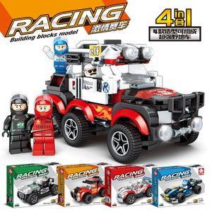 Kid Fun Mini racing car Building block toy DIY Assemble table sports car building block toy Kid Boy Gift