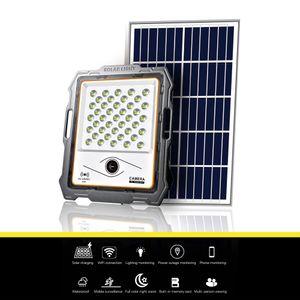 200 W Güneş Işıklandırması Kablosuz Wifi Kamera Açık Su Geçirmez Güneş Işık 2MP Kamera Tuya Smart App Ile