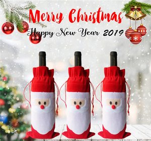 1PCS Santa Claus Gift Bags Christmas Decorations Red Wine Bottle Cover Bags Xmas Santa Champagne wine Bag Xmas Gift HHE2432