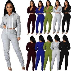 Bayan Katı Renk Activewear Eşofman Sonbahar Spor Fermuar Dantelli Uzun Kollu Kapşonlu Kırpma Üst Yığılmış Pantolon 2 Parça Set