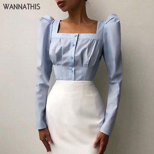 WannaThis Blouses Woman Square Collar Long Sleeve Puff Sleeve Sexy Slim Button Women's Shirt Casual Autumn Elegant Streetwear